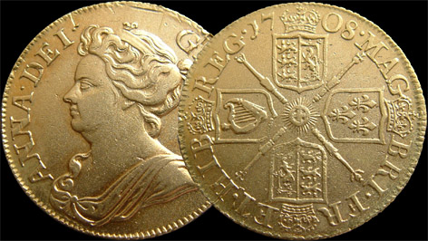 1708 Queen Anne Gold Guinea
